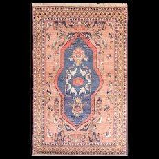 "3'9"" x 6' Rear Antique Silk and Wool Persian Khorrasan Rug, c-1900's"