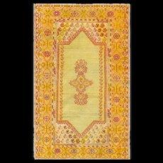 """2'8"""" x 4'7"""" Antique Oushak Rug, c-1900"""