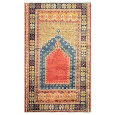 "2'11"" x 5' Antique Oushak Prayer Rug, c-1910's"