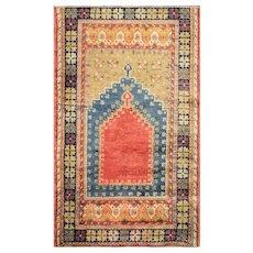 """2'11"""" x 5' Antique Oushak Prayer Rug, c-1910's"""