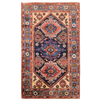 "3'7"" x 6' Amazing Persian Bakhtiari Rug, c-1920"