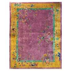 """Antique Art Deco Chinese Carpet, 8'11"""" x 11'10"""" c-1915 #16772"""