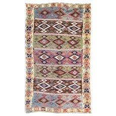 """Antique Turkish/Caucasian Kilim, 6'4"""" x 9'1"""" c-1880's #16774"""