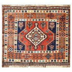 """Unusual 3'2"""" x 4'11"""" Antique Persian Qashqai Rug, c-1900"""