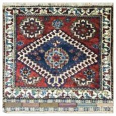 """2'4"""" x 2'5"""" Unusual Qashqai Persian Rug, c-1930"""