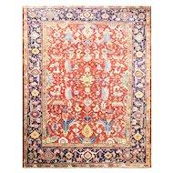"""Stunning 7'9"""" x 10'2"""" Dragon Persian Heriz Carpet, c-1920"""
