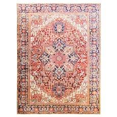 "Amazing 9'6"" x 12'8"" Persian Heriz Carpet, c-1920"