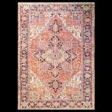 "7'1"" x 10'7"" Gorgeous Antique Persian Heriz Carpet, c-1920's"