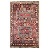 "4'5"" x 7' Unusual Antique Persian Qashqai Rug, c-1910"