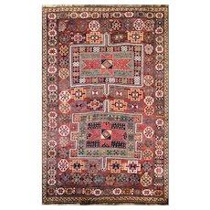 """4'5"""" x 7' Unusual Antique Persian Qashqai Rug, c-1910"""