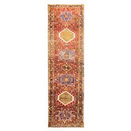 "2'11"" x 11'1"" Magnificent Persian Heriz Runner, c-1920's,"