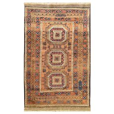 "2'10"" x 4'8"" Magnificent Antique Afghan Ersary Rug, c-1910"