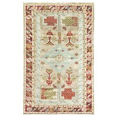 "3'5"" x 5'5"" Amazing Antique Ghiordes Rug"