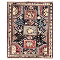 "3'10"" x 4'9"" Incredible Antique Caucasian Baku Rug"