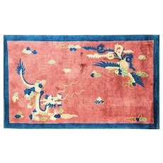 "3'1"" x 5' Fascinating  Art Deco Dragon Chinese Oriental Rug, c-1920's"