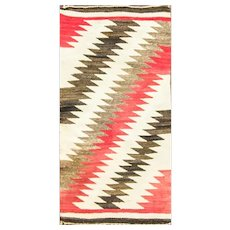 "Navajo Saddle Rug Germantown Design, 20"" x 39"" #16886 c-1920's"
