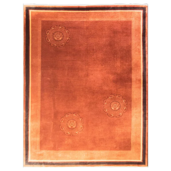 "8'10"" x 11'8"" Amazing and Unusual Art Deco Chinese Oriental Carpet, c-1920"