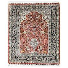 """2'1"""" x 3' Silk Tabriz Rug, c-1970"""