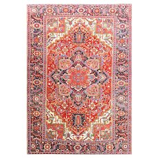 "7'4"" x 11'4"" Persian Heriz Carpet Mid-20th Century"