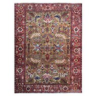 "Persian Heriz Carpet Gold Color, Mid-20th Century, 7'5"" x 9'9"""