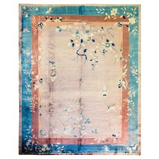 """9'2"""" x 11'2 9'2"""" x 11'2"""" Amazing and Unusual Art Deco Chinese Oriental Rug, c-1930"""