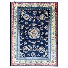 "7'1"" x 9'8"" Amazing Dragon Chinese Carpet, c-1940"