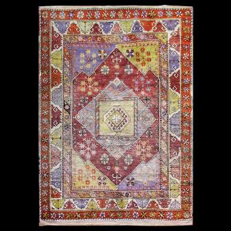 """5'4"""" x 7'8"""" Amazing Antique Turkish Oushak Rug,c-1910"""