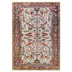 "7'3"" x 10'6"" Striking Antique Ivory Persian Heriz Serapi handmade Carpet, c-1920."