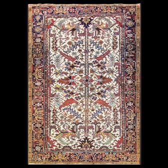 "7'3"" x 10'6"" Striking Antique Ivory Persian Heriz Serapi handmade Carpet, c-1920."