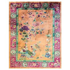 """8'8"""" x 11'5"""" Amazing and Unusual Art Deco Chinese Oriental Rug, c-1920."""