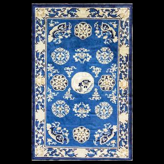 """5' x 7'8"""" Unusual and Amazing Antique Chinese Peking Deco design Carpet, c-1910."""