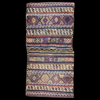 """2'4"""" x 4'5"""" Antique Northwest Persian or Caucasian Shahsavan Saddlebag, c-1900's."""