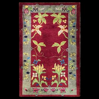 "3' x 4'10"" Unusual Art Deco Chinese Oriental Rug, c-1920,#16942"