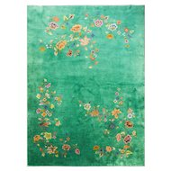 "Art Deco Chinese Carpet 9'8"" x 13'7"", Amazing Green , c-1930"