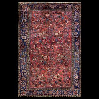 """4'6"""" x 6'8"""" Persian Sarouk Rug, Tree of Life and Birds, c-1930"""