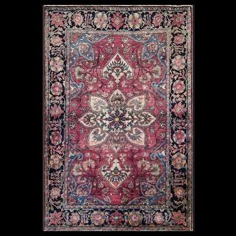 "Fine Antique 3'3"" x 5'5"" Persian Sarouk Feraghan Rug, c-1900"
