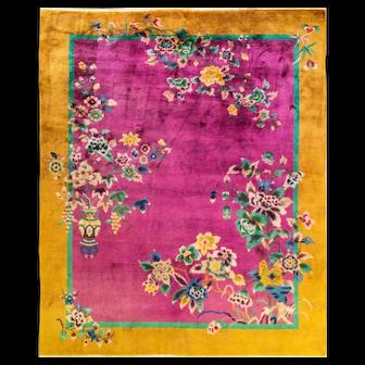 "7'10"" x 9'8"" Fabulous  Art Deco Carpet, c-1920"