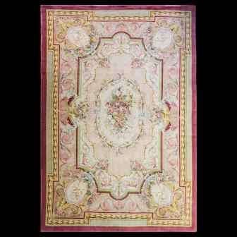 """9'5"""" x 13'10"""" French Savonnerie, Aubusson Classic Carpet, c-1930"""