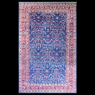 Antique Persian Laver Kerman Carpet, Amazing Color, c-1910