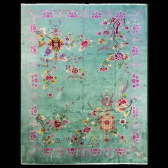 """8'11"""" x 11'7"""" Art Deco Carpet, Remarkable, c-1920"""