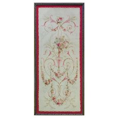 """4'9"""" x 5'8""""  Antique French Aubusson Panel Runner Tapestry, c-1900"""