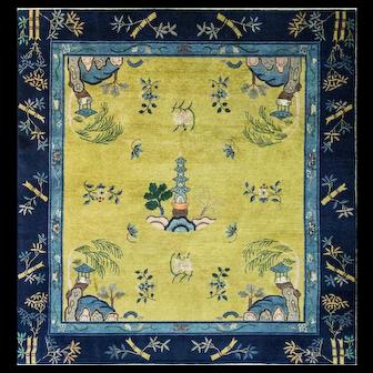 """8' x 8'8"""" Antique Unusual Art Deco Chinese Carpet, c-1910"""