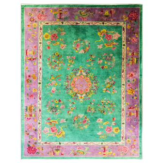 "8'8"" x 11'8"" Dragon Art Deco Carpet, Amazing Colors, c-1920"