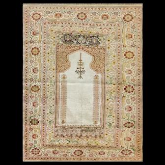 "4'9"" x 6'1"" Turkish Silk Kayseri Prayer Rug, c-1920"