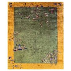 """Antique Art Deco Carpet, 9'2"""" x 11'4"""", c-1920's"""