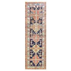 "2'10/ x 9'9"" Antique Persian Karaja Rug, c-1910"