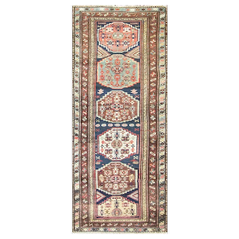 "3'1"" x 8'4"" Antique Persian Bakhtiari Runner, C-1910"