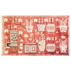 "5'2"" x 8'10"" Magnificent Antique Khotan Carpet, c-1910"