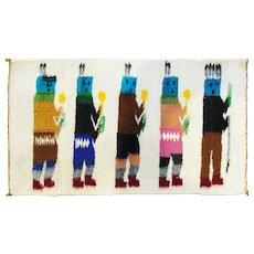 "1'6"" x 1' Navajo five figure Yei Rug, c-1950"