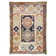 """3'11"""" x 5'6"""" Antique Persian Kurdish Rug, c-1880"""